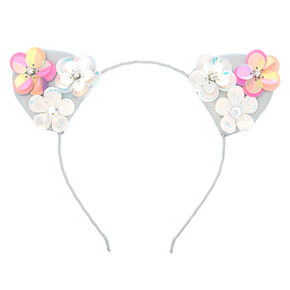 Holographic Flower Cat Ears Headband,