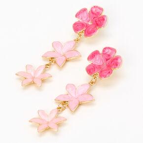 """Gold 2.5"""" Ombre Flower Linear Drop Earrings  - Pink,"""