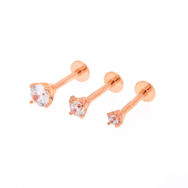 16G Rose Gold Crystal Helix Stud Earrings,