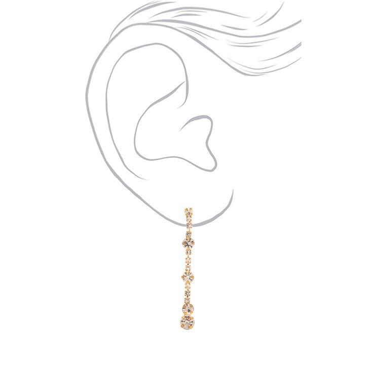 """1.5"""" Gold Linear Faux Rhinestone Drop Earrings,"""