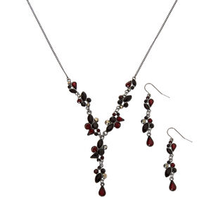 Hematite Y-Neck Jewelry Set - Red, 2 Pack,
