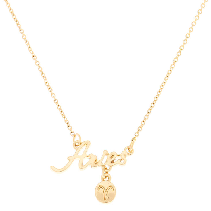 Gold Zodiac Pendant Necklace - Aries,