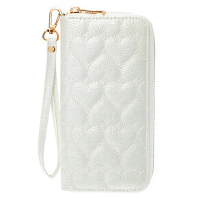 Quilted Hearts Wristlet - White,