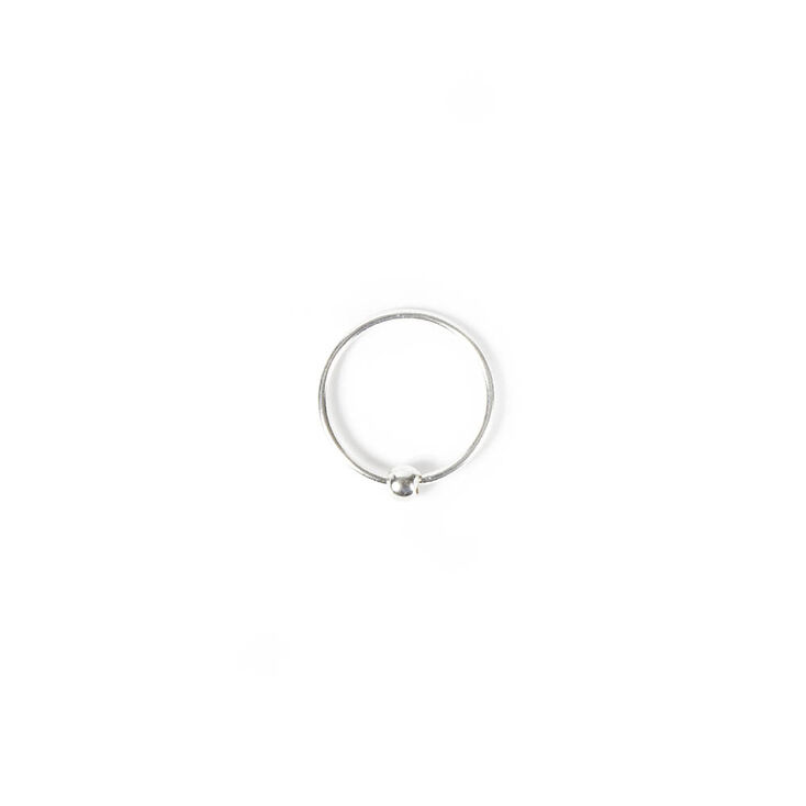 20G Sterling Silver Beaded Nose Hoop Ring,