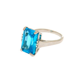 Large Cubic Zirconia Ring -  Blue,