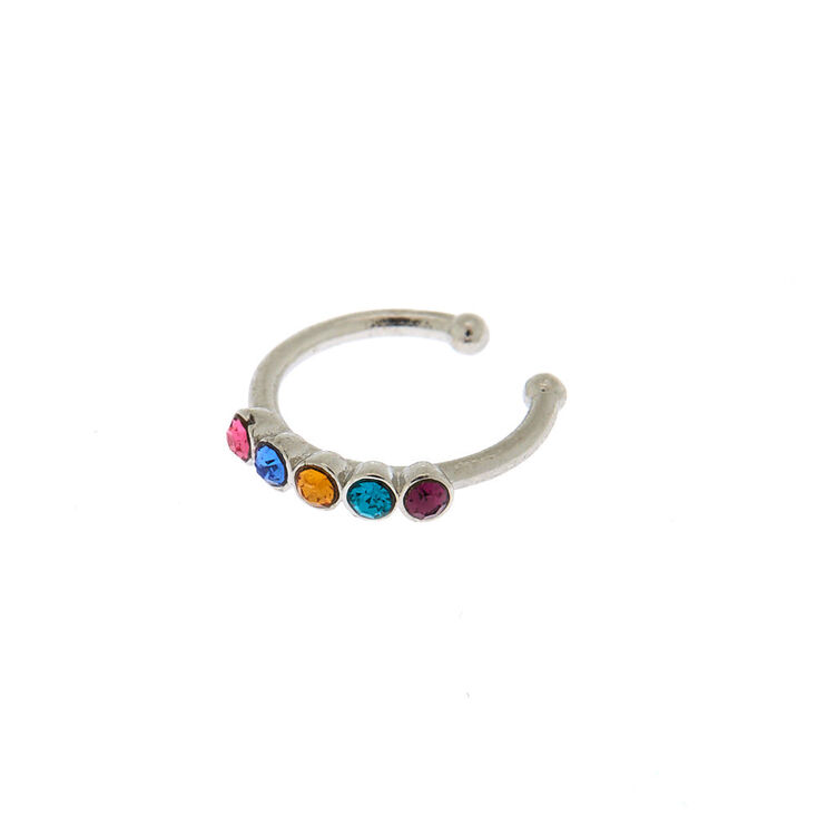 Silver Rainbow Stone Faux Nose Ring,