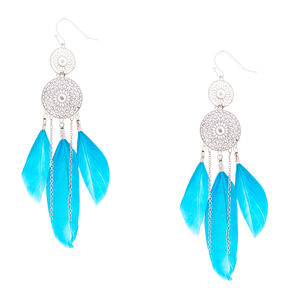 "Silver 3"" Dreamcatcher Drop Earrings - Teal,"
