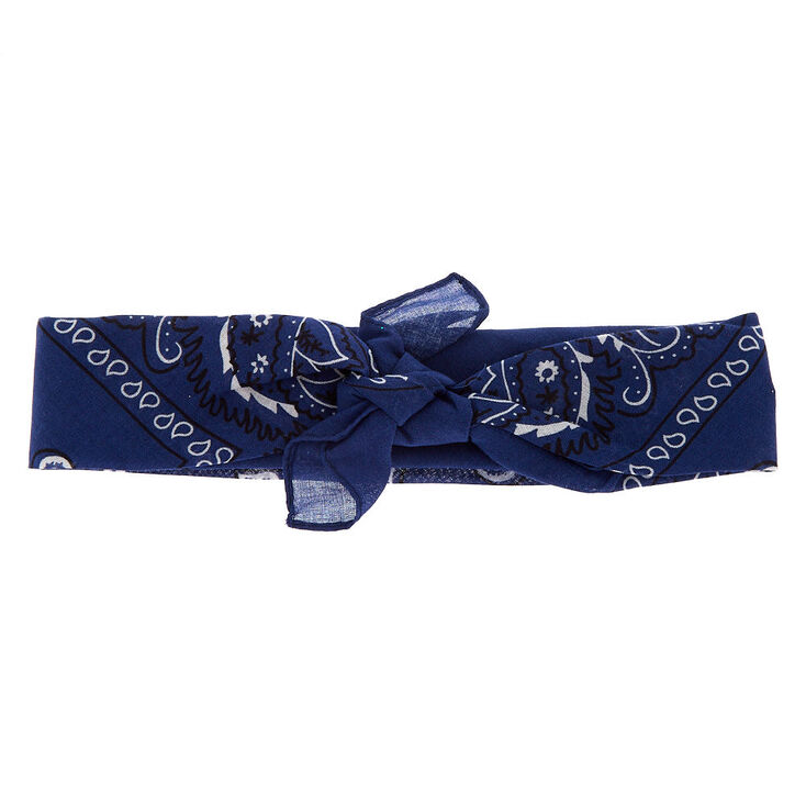 Navy Blue Paisley Bandana Headwrap,