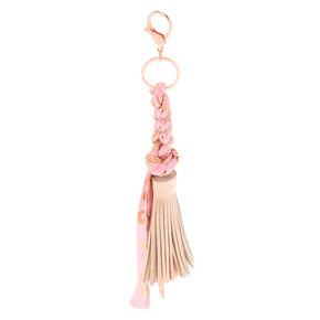 Braided Leopard Tassel Keychain - Pink,
