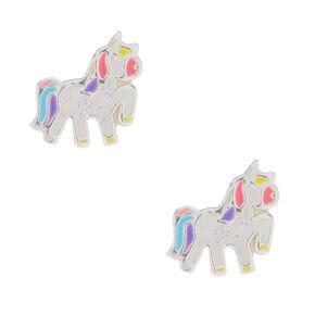 Sterling Silver Party Glitter Unicorn Earrings,