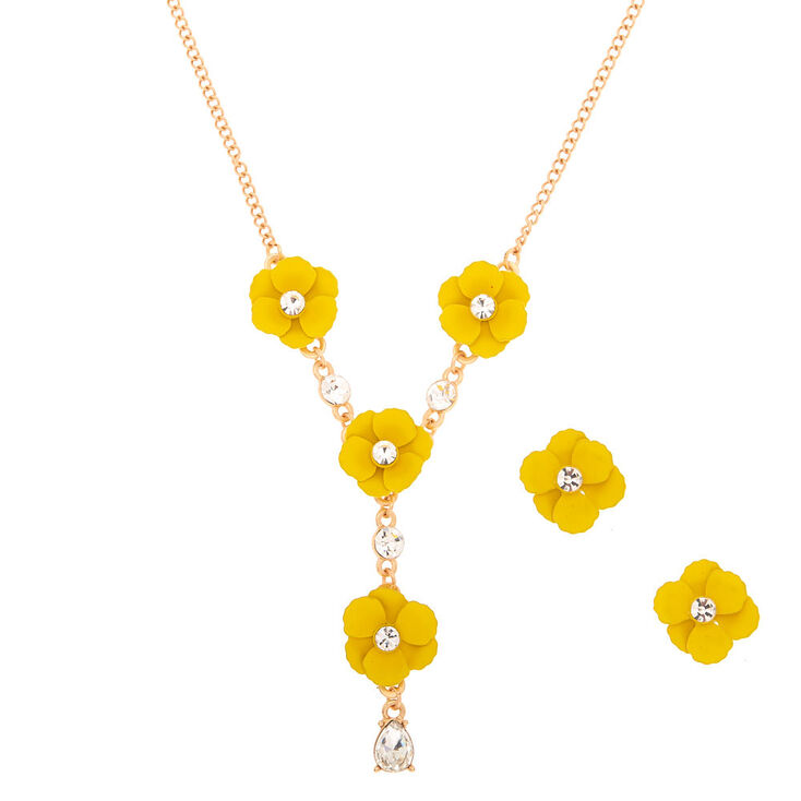 Spring Floral Jewelry Set - Yellow,