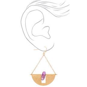 "Gold 2"" Amethyst Stone Half Circle Drop Earrings - Purple,"