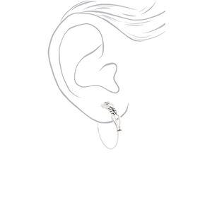 Silver 40MM Skeleton Hoop Earrings,