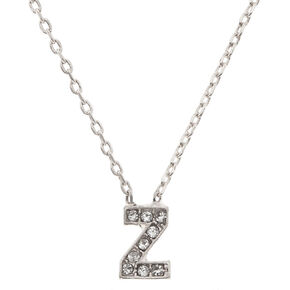 Silver Studded Z Initial Necklace,