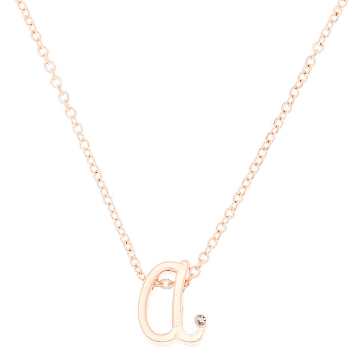 Rose Gold Cursive Initial Pendant Necklace - A,