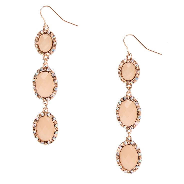 Rose Gold Tone Framed Peach Pillowed Oval Beads Linear Drop Earrings,