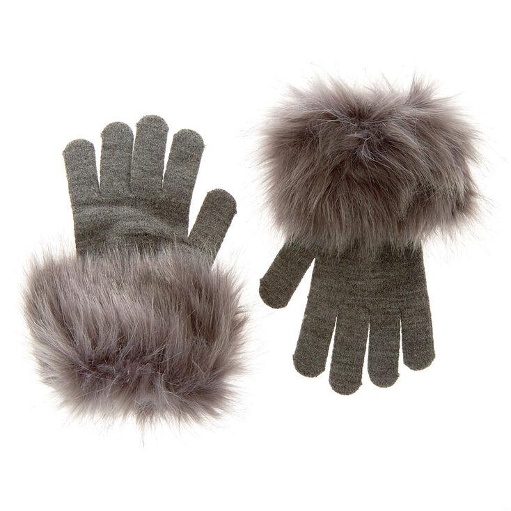 Gray Faux Fur Gloves,