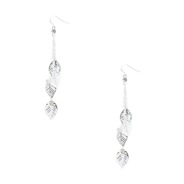 Silver Tone Falling Leaves Chain Drop Earrings,
