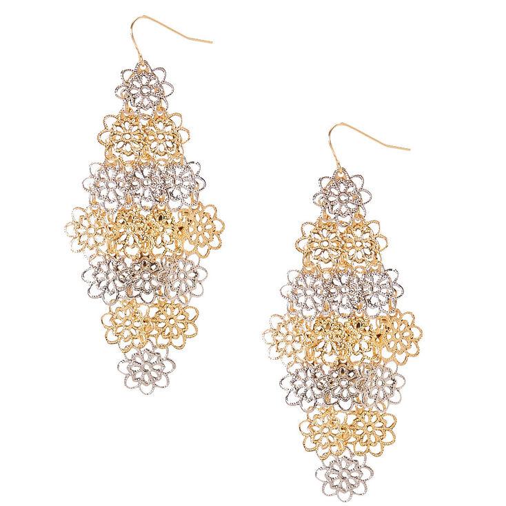 Layered Flower Drop Earrings,