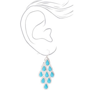 "Silver 2"" Chandelier Drop Earrings - Turquoise,"