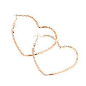 Rose Gold-Tone Heart Hoop Earrings,
