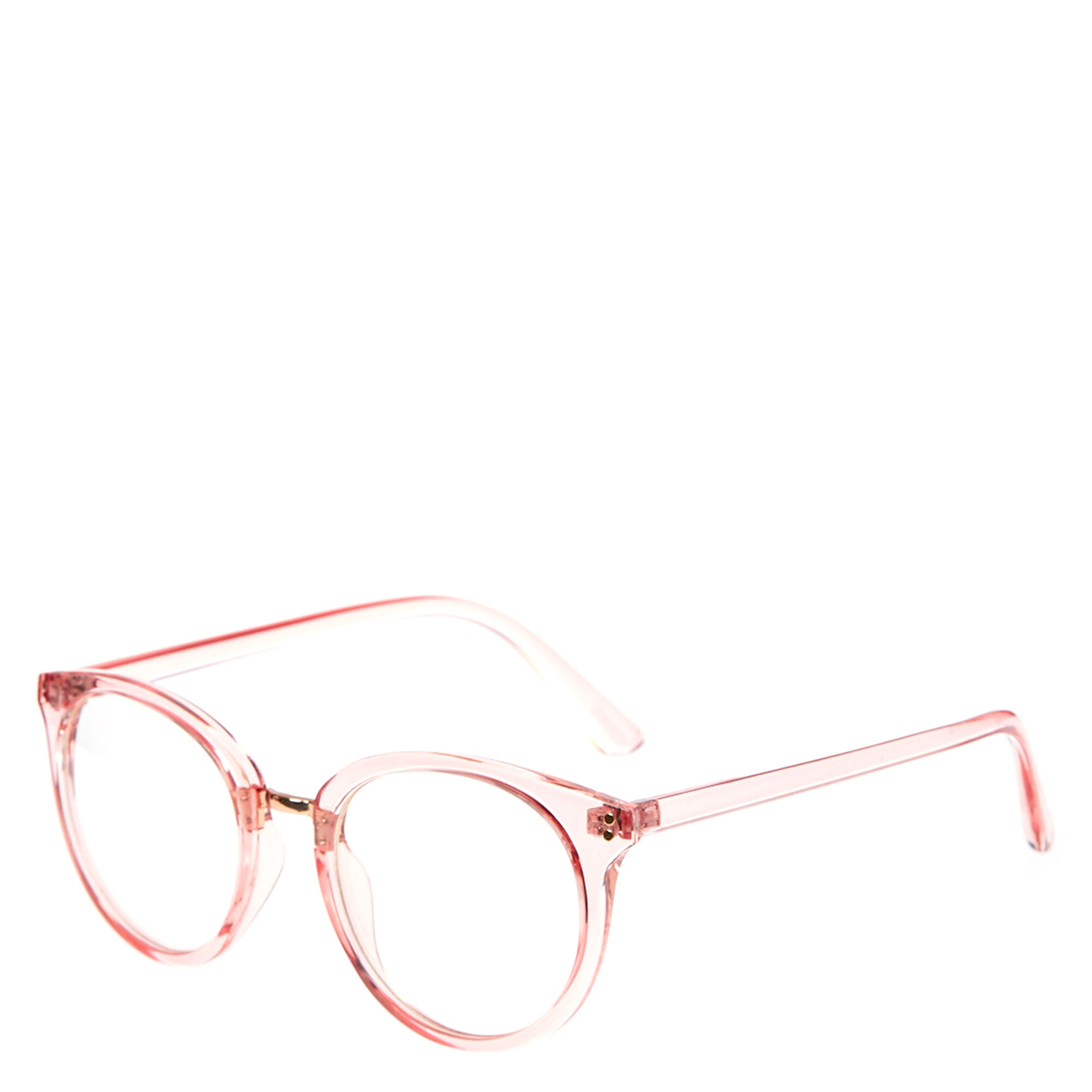d3f7af6d1c Clear Pink Round Fake Glasses