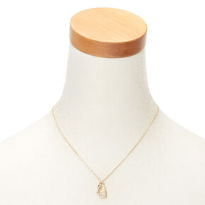 Gold Lock & Key Initial Pendant Necklace - E,