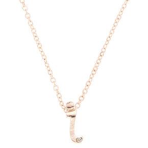 Rose Gold Cursive Initial Pendant Necklace - I,