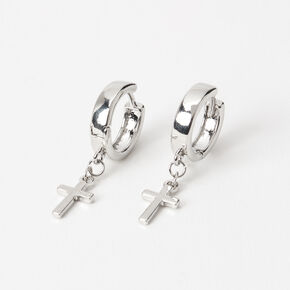 Silver 15MM Cross Huggie Hoop Earrings,