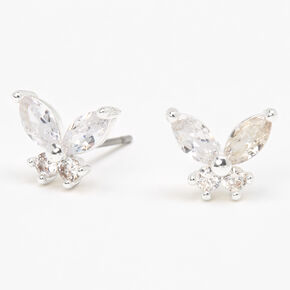 Silver Butterfly Cubic Zirconia Stud Earrings,