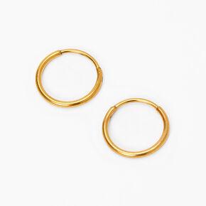 Gold Titanium 10MM Sleek Hoop Earrings,