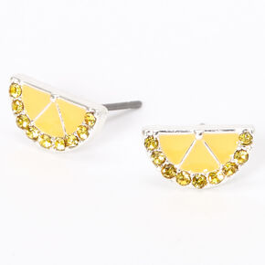 Silver Lemon Slice Stud Earrings - Yellow,