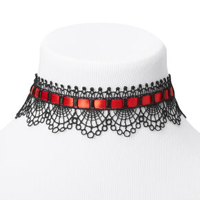Black & Red Lace Ribbon Choker Necklace,