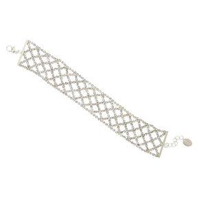Silver Rhinestone Basket Weave Chain Bracelet,