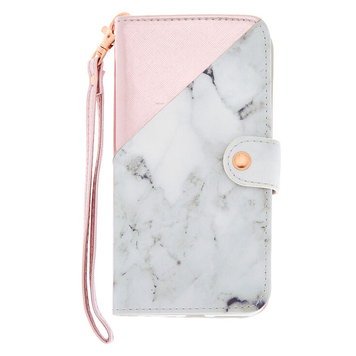 Marble & Rose Gold Folio Phone Case - Fits iPhone 6/7/8,