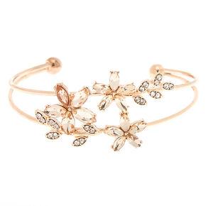 Rose Gold Rhinestone Floral Cuff Bracelet,