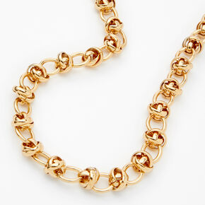 Gold Knotted Chain Link Necklace,