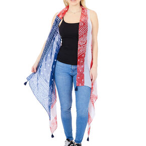 Stars & Stripes Sheer Bandana Vest,