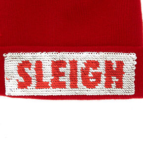 Reversible Sequin Sleigh Beanie - Red,