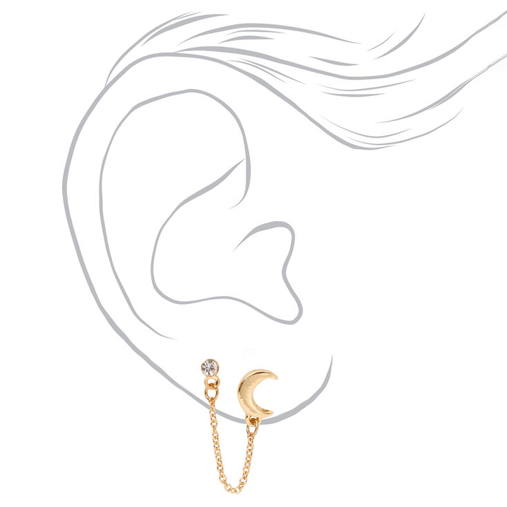Gold Crescent Moon Crystal Connector Chain Stud Earrings,