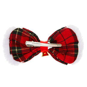 Plaid Hair Bow Clip - Red,