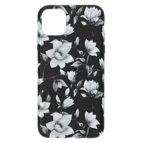 Black & White Floral Phone Case - Fits iPhone 11 Pro Max,