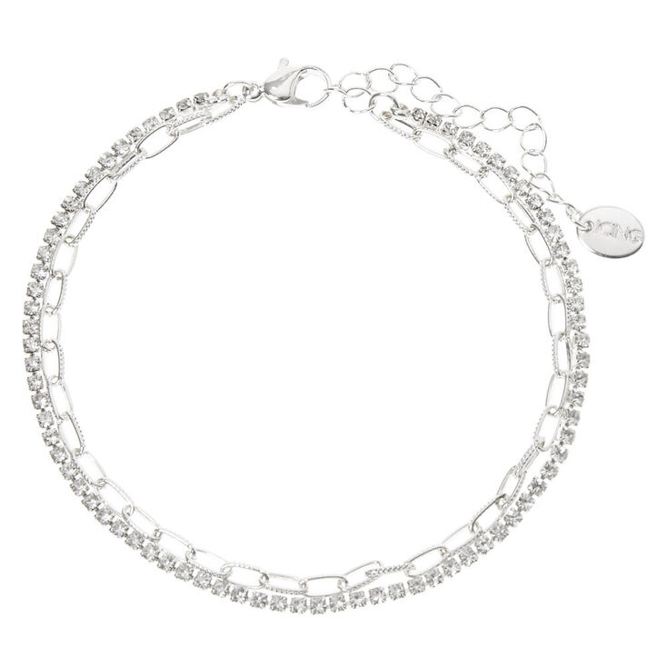 Silver Crystal Chain Link Multi Strand Anklet,