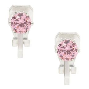 5MM Pink Cubic Zirconia Clip On Earrings,