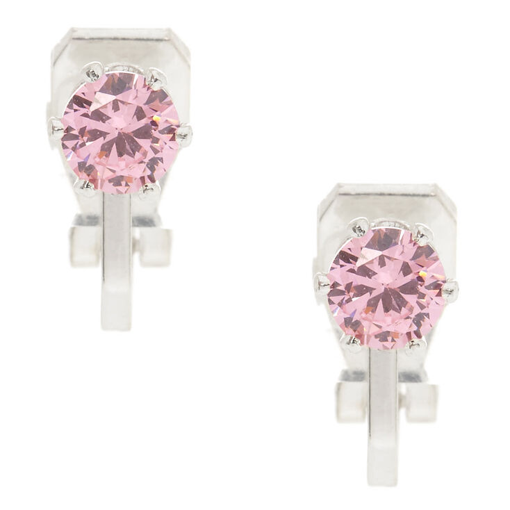 5MM Pink Cubic Zirconia Clip On Stud Earrings,