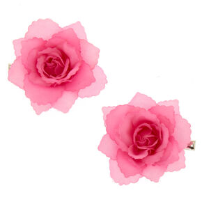 2 Pack Pink Flower Hair Clips,