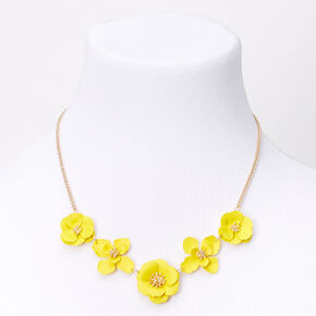 Gold Daisy Flower Statement Necklace - Yellow,