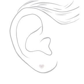 Sterling Silver Stone Heart Stud Earrings - Clear,