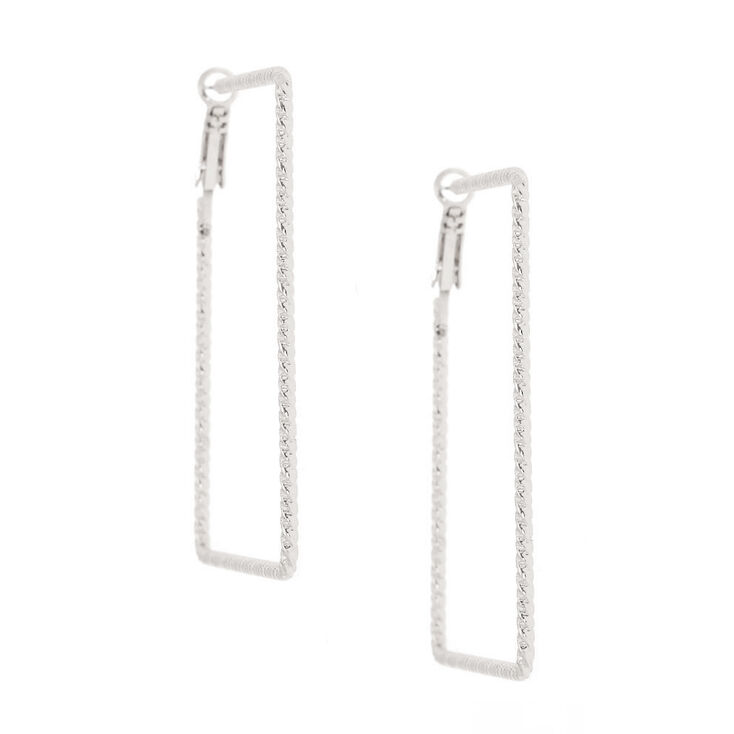 Silver 60MM Textured Square Hoop Earrings,