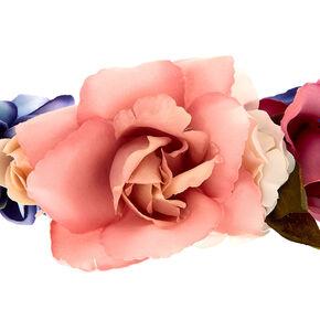 Large Rose Flower Crown Headwrap - Navy,